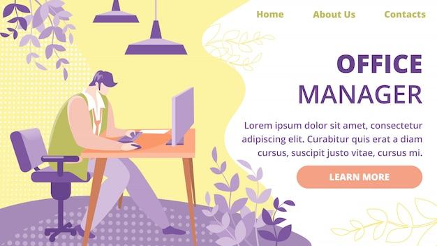 Office manager beroep vector website sjabloon
