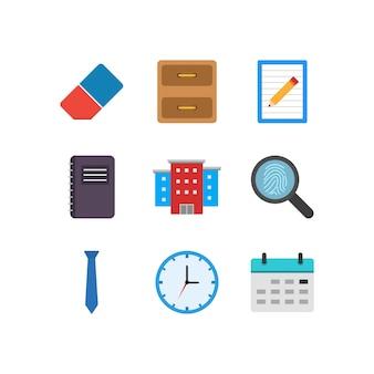 Office pictogrammen blad geïsoleerd op een witte achtergrond