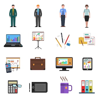 Office-pictogrammen platte set