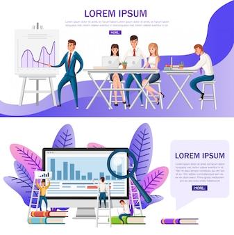 Office-presentatie. conferentiezaal met planbord en houten bureau en stoelen. mensen werken met laptops. stripfiguur . illustratie op witte achtergrond