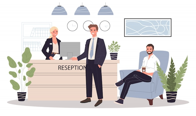 Office receptie illustratie