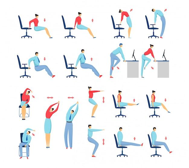 Office stretching oefeningen mensen set van geïsoleerde illustratie, business man en vrouw op stoel training en fitness.