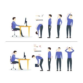 Office-syndroom juiste of onjuiste posities voor oefeningen in gymnastiek