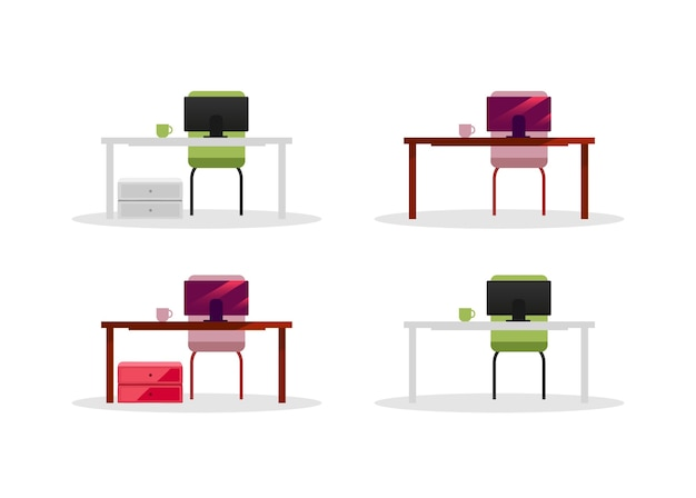 Office-tabellen met computers egale kleur objecten ingesteld. computerschermen. bedrijfsapparatuur en meubilair geïsoleerde cartoon afbeelding voor web grafisch ontwerp en animatie collectie