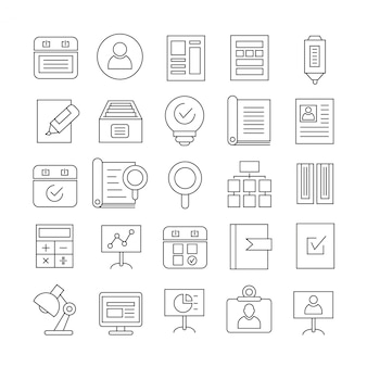 Office toevoerlijn pictogrammen