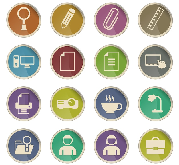 Office-vectorpictogrammen in de vorm van ronde papieren etiketten