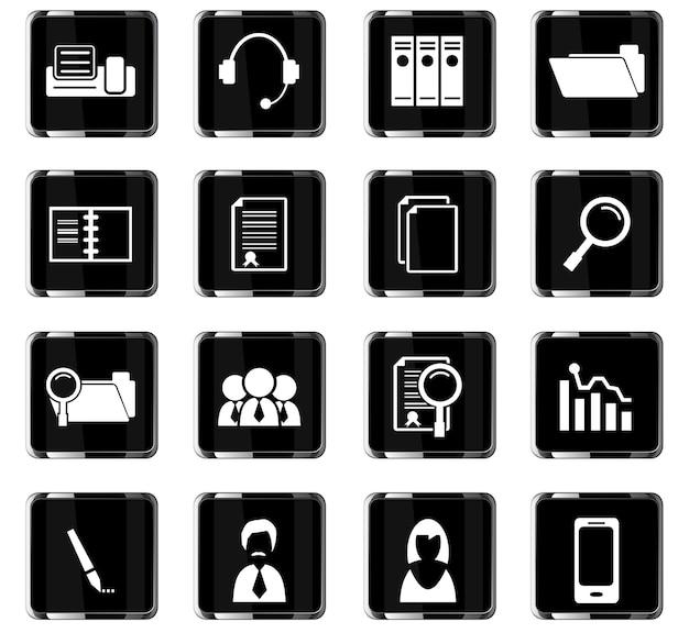 Office-vectorpictogrammen voor gebruikersinterfaceontwerp
