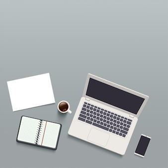 Office werkplek bovenaanzicht