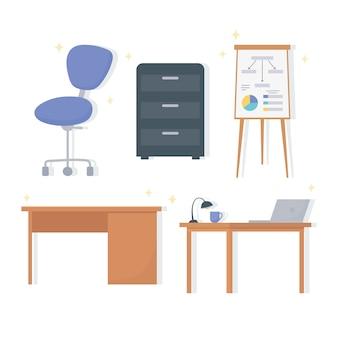 Office werkplek bureaulamp laptop stoel kabinet en bord presentatie pictogrammen.