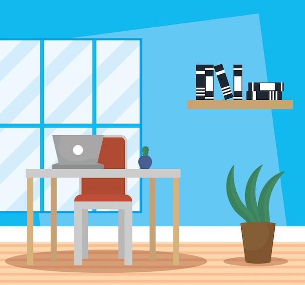 Office werkplek met laptop scène