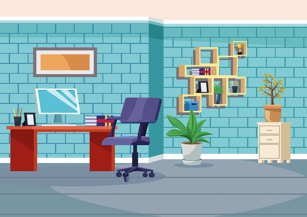 Office werkplek scène met desktop illustratie