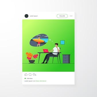 Officemanager droomt van vakantie op zee platte vectorillustratie. cartoon zakenman ontspannen tijdens het werk en na te denken over surfen. vakantie- en werkconcept