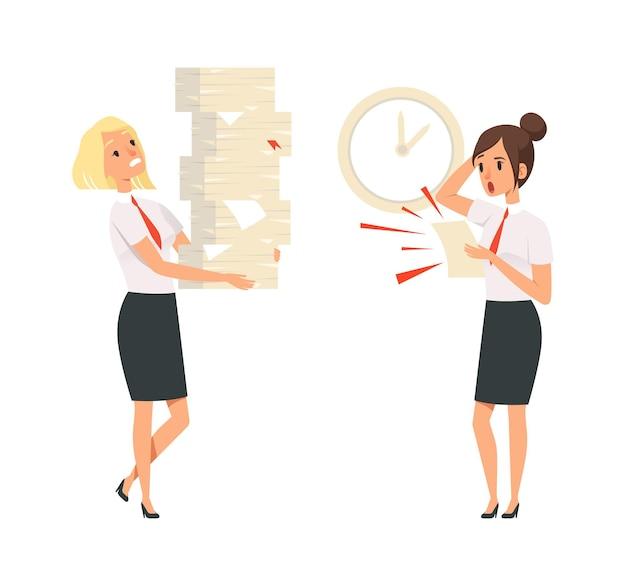 Officemanagers. onvervulde taken, deadline tijd. geïsoleerde meisjes in pakken bang en moe