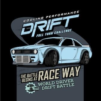 Officiële driftgarage, vectorwagenillustraties