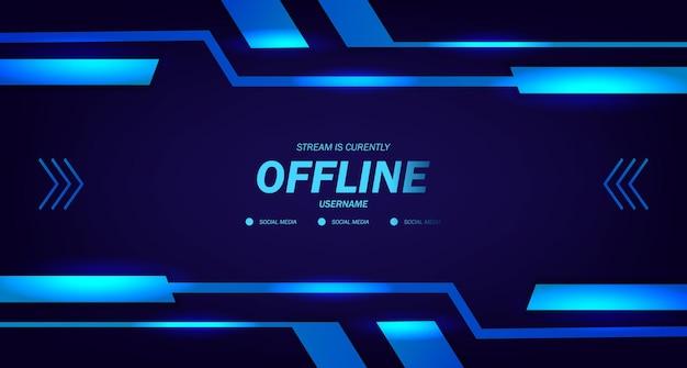 Offline streaming gaming live videosjabloon met donkere neon glow frame technologie cyber display voor esport trendy