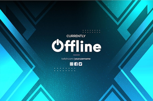 Offline twitch achtergrond met abstract blue shapes design