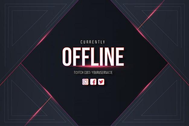 Offline twitch achtergrondontwerp met moderne achtergrond