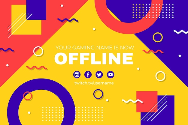 Offline twitch-banner in memphis-stijl