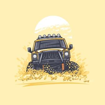 Offroad-auto in de woestijnheuvels heeft stofillustratie opgeworpen