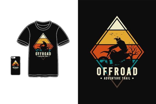 Offroad avonturenparcours typografie op t-shirt merchandise en mobiel