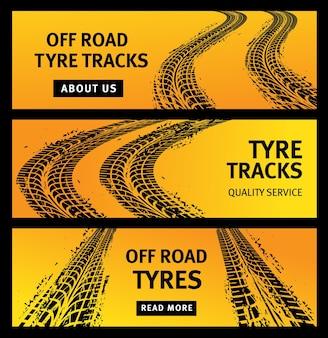Offroad bandensporen, zwarte afdrukken van autobanden, grunge wegmarkeringen