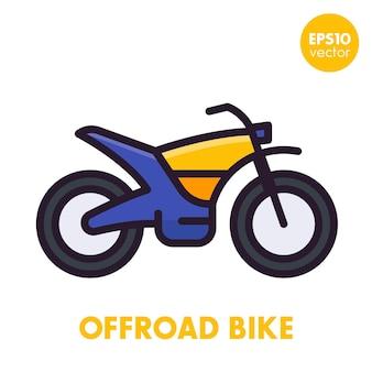 Offroad fiets, motorfiets icoon in vlakke stijl met omtrek