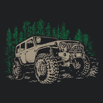 Offroad sketch adventure car