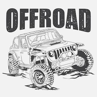 Offrod jeep illustratie zwart-wit