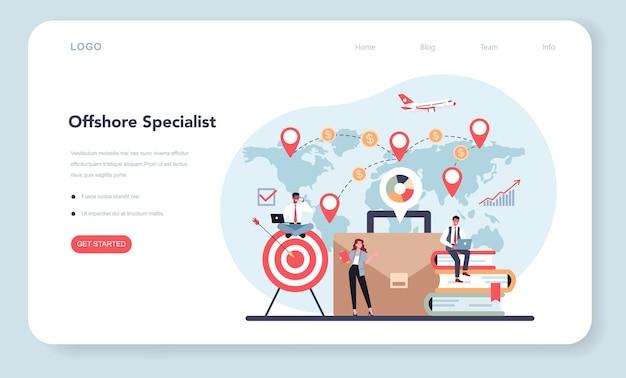 Offshore specialist of bedrijfsconcept. professionele zakenmanhulp bij financiële dienstverlening aan niet-ingezetenen.