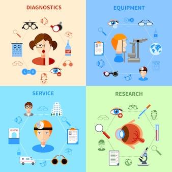 Oftalmologie en gezichtsvermogen icons set