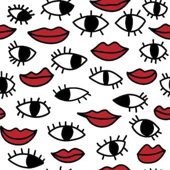 Ogen en lippen naadloos patroon