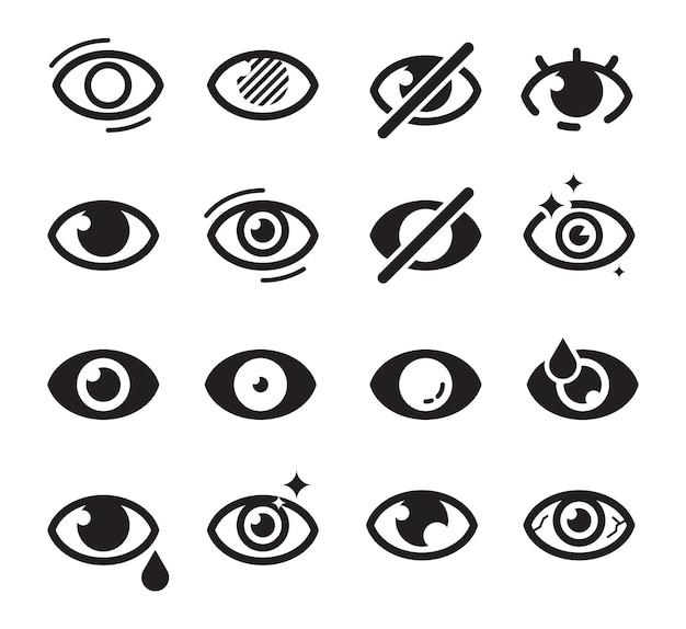 Ogen pictogram. optische zorg symbolen gezichtsvermogen visie cataract blinds goed uitziende medicijnen foto's zoeken