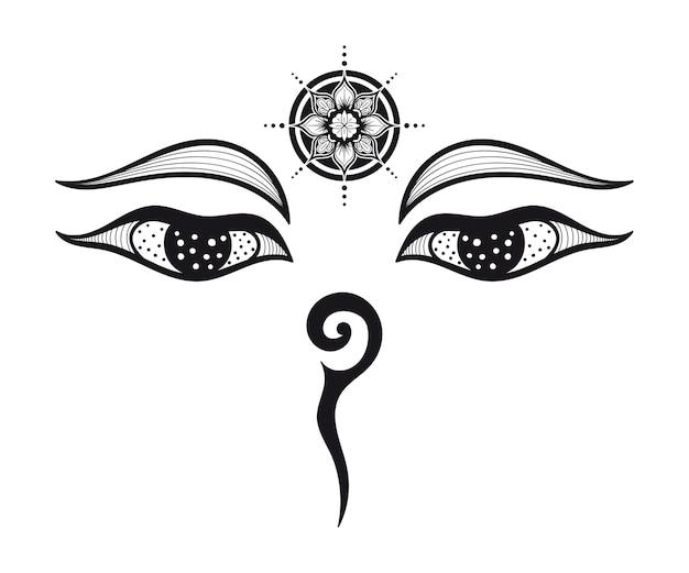 Ogen van boeddha, boeddhistische ogen, symbool wijsheid en verlichting. nepal