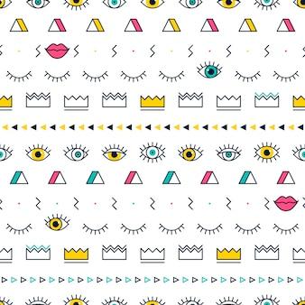 Ogenpatroon met lippen, kroon en geometrische vormen in memphis-stijl.