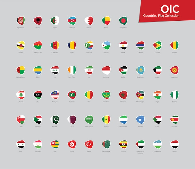 Oic vlaggen icon collectie
