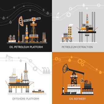 Oil petroleum platform set