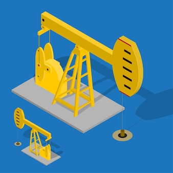 Oil pump energy industrial op een blauwe achtergrond. apparatuur voor de industrie. isometrische weergave.