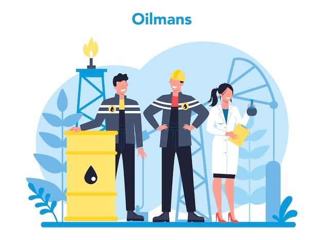 Oilman en aardolie-industrie concept.