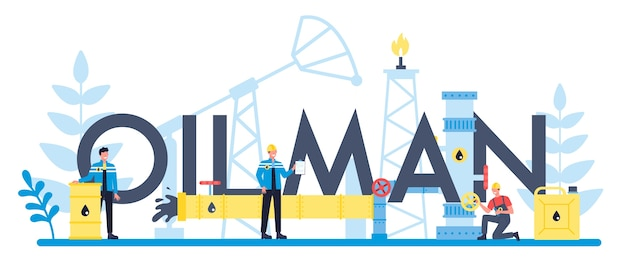 Oilman en aardolie-industrie typografisch koptekst concept. pompkrik die ruwe olie uit de ingewanden van de aarde haalt. olieproductie en zaken.