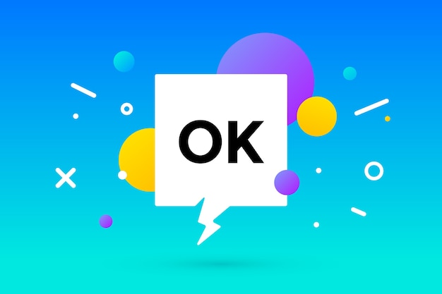 Ok. banner, tekstballon, poster en stickerconcept, geometrische memphis-stijl met tekst ok.
