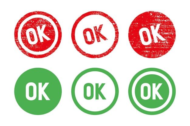 Ok cirkel stempel set. getextureerde rode stempel met ok tekst geïsoleerd op een witte achtergrond, vectorillustratie.