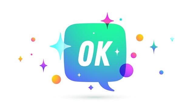 Ok. spraak bubbel. set chatbericht, cloud talk, tekstballon.