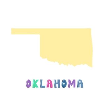 Oklahoma kaart geïsoleerd. vs collectie. kaart van oklahoma - geel silhouet. doodle stijl belettering op wit