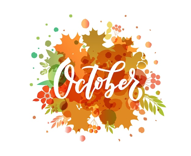Oktober belettering typografie moderne oktober kalligrafie vector illustratie getextureerde achtergrond
