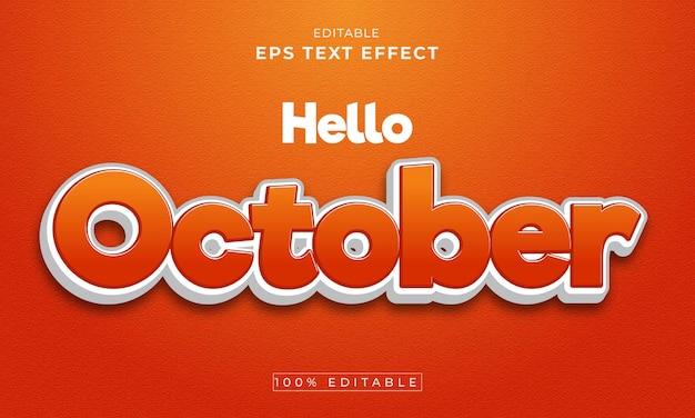 Oktober bewerkbare 3d-teksteffect premium vector