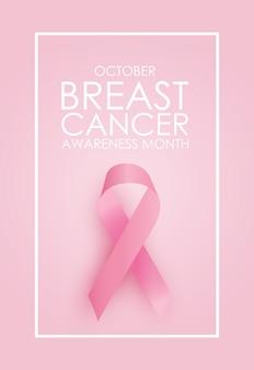 Oktober borstkanker bewustzijn maand concept achtergrond. roze lint teken