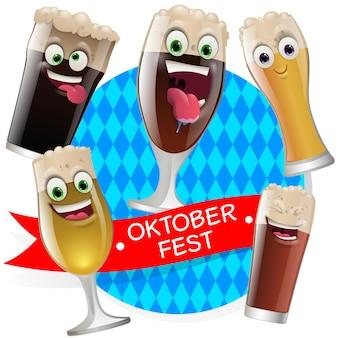Oktober fest bier gezichten maskers met mond en ogen van aliens emoticon