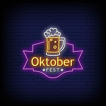 Oktober festival neon signs style text