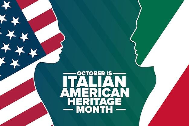 Oktober is italiaans-amerikaanse erfgoedmaand. vakantieconcept. sjabloon voor achtergrond, spandoek, kaart, poster met tekstinscriptie. vectoreps10-illustratie.