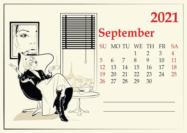 Oktober. kalender met mode meisje in schetsstijl.
